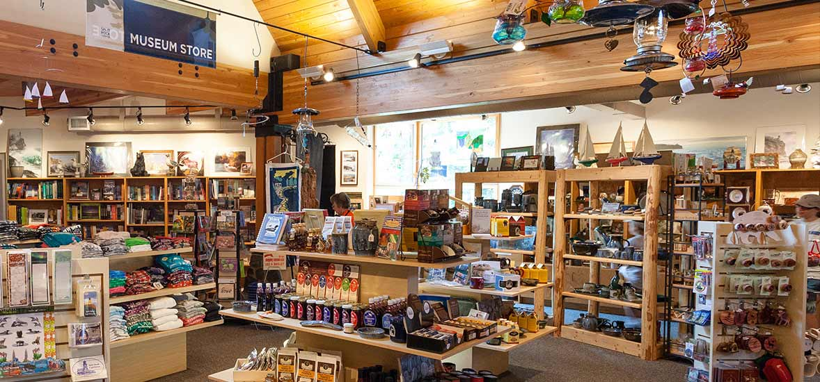The museum store with shelves of merchandise