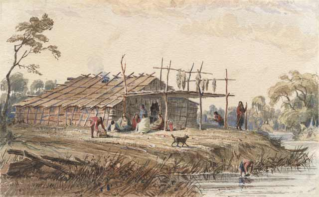 Dakota summer lodge, 1846–1848. Watercolor painting by Seth Eastman. Source: MNHS Collections.
