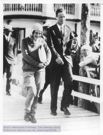 Charles A. and Anne Morrow Lindbergh return from Atlantic Survey Flight, Miami, Florida.
