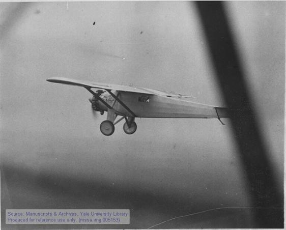 Charles A. Lindbergh in the Spirit of St. Louis shortly after taking off on his transatlantic flight.
