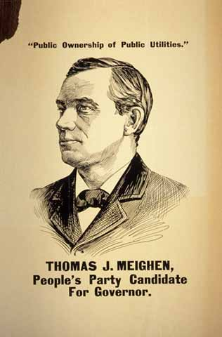 Thomas Meighen in a People's Party Candidate For Governor campaign poster. Source: MNHS Collections.