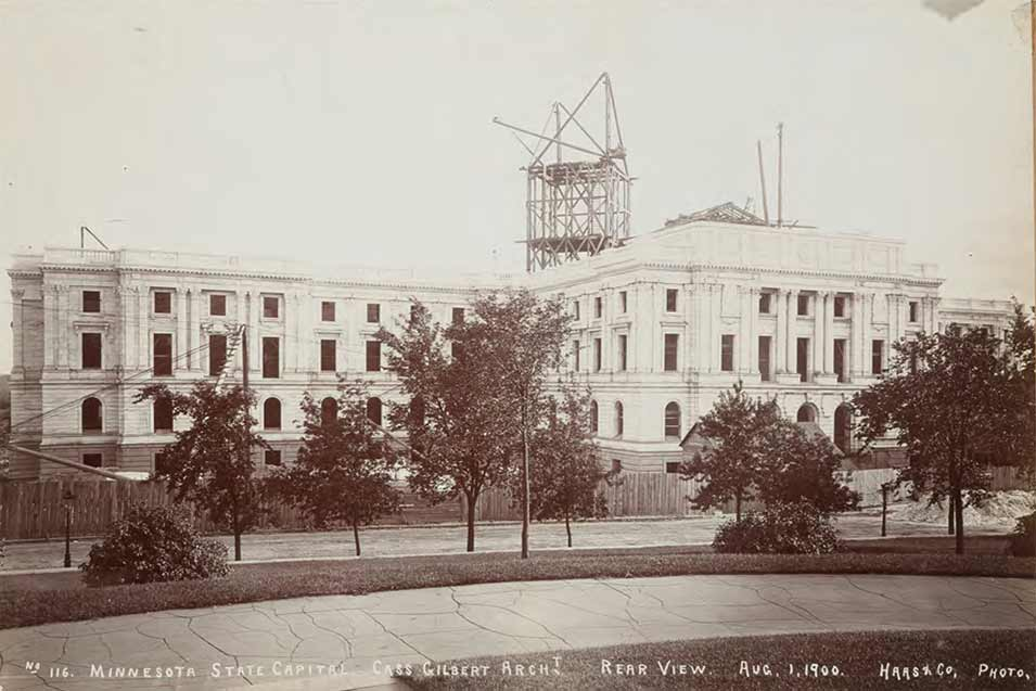 Black-and-white image of the Capitol under construction