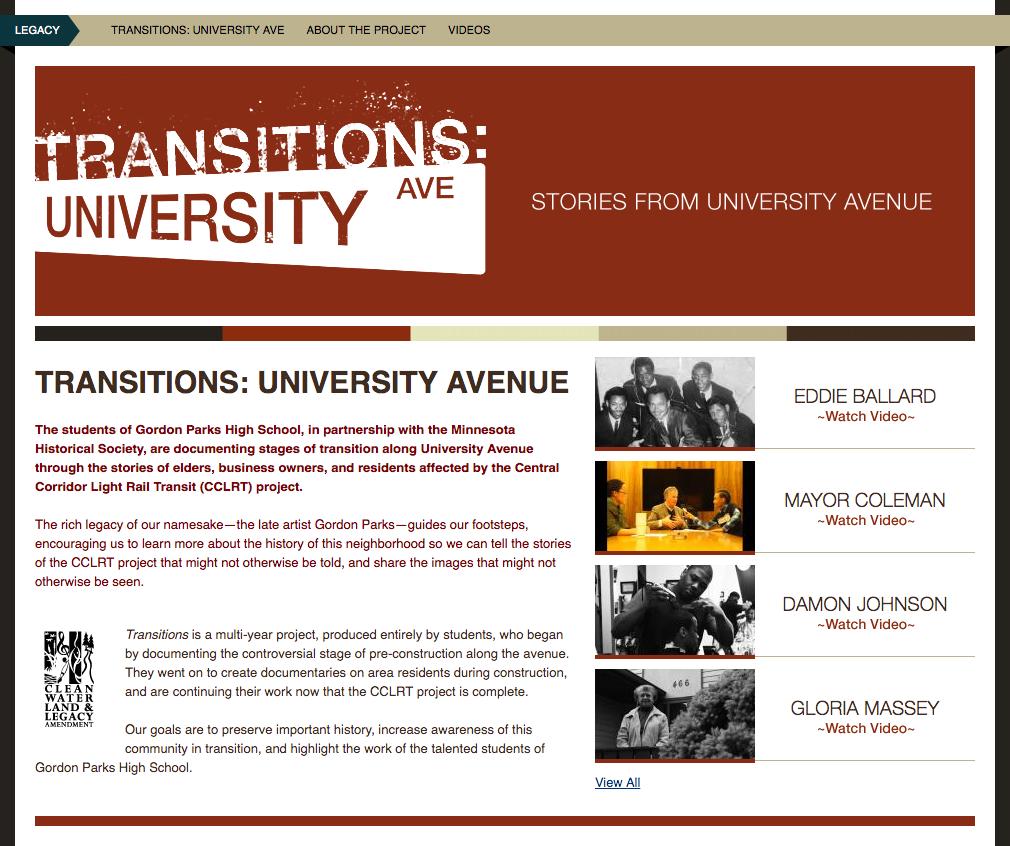 Screenshot of Transitions: University Avenue web page.