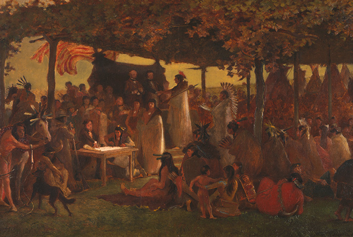 Painting of The Treaty of Traverse des Sioux.