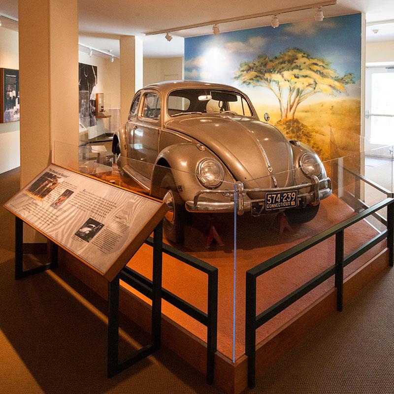 Volkswagen car with exhibit display.