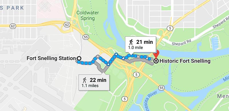 Google map of walking directions