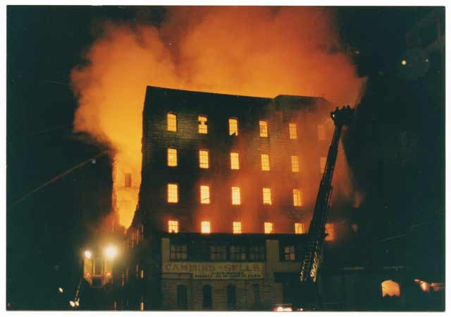 Washburn A Mill fire, February 1991. Source: MNHS Collections.