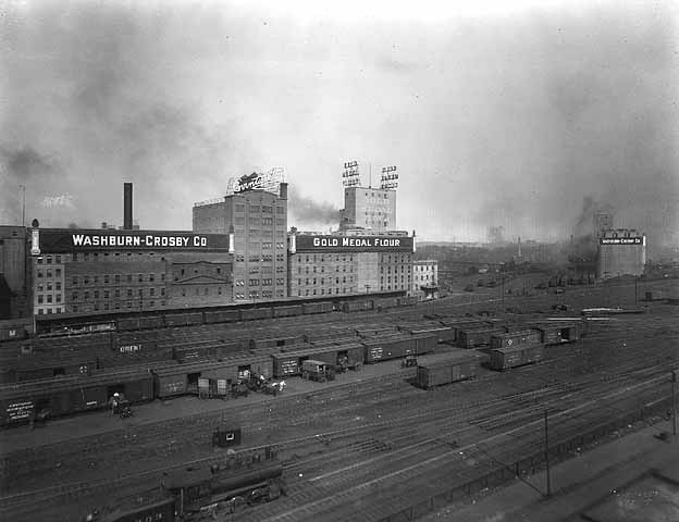 Washburn A Mill Complex during the years of peak production. Source: MNHS Collections.