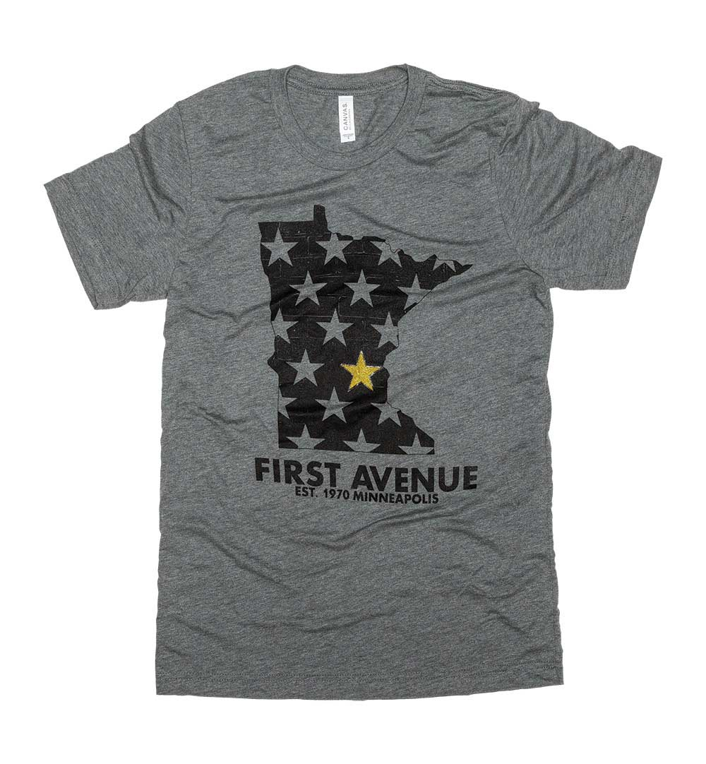 First Avenue gray t-shirt with state of Minnesota outline
