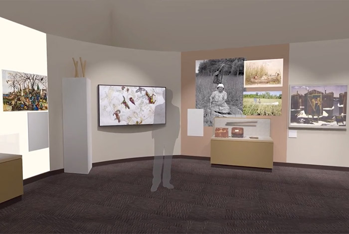 Exhibit rendering of person standing in a gallery.