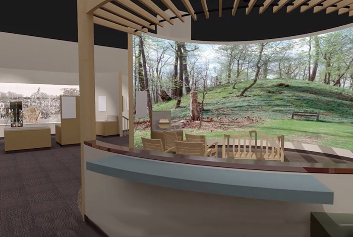 Exhibit rendering of  a gallery seating area.