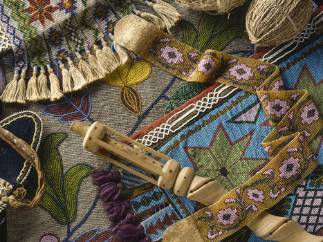 Beading, bandoleer bag, and other native collections