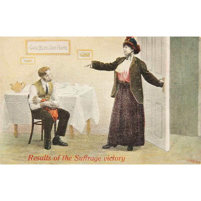 Anti-suffrage postcard, before 1920.