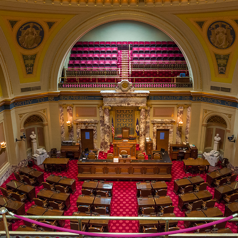 View from the public gallery of the Senate and House chambers