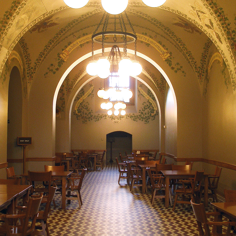 View of the Rathskeller Cafe ceiling: painted vines and eagles