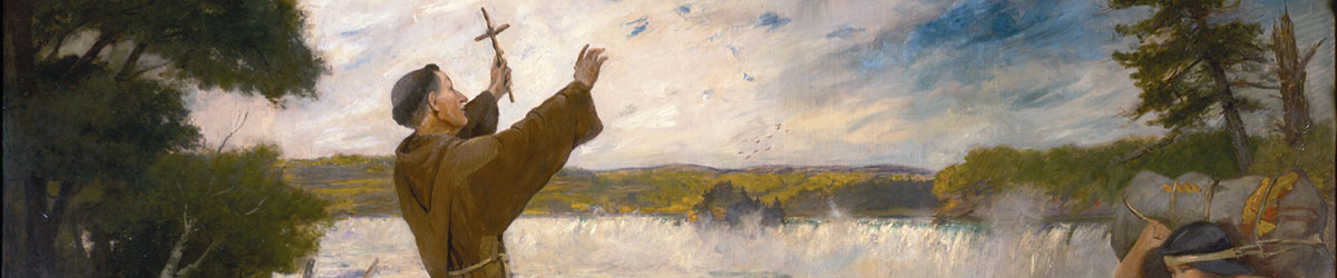 A cropped view of the Father Hennepin Discovering the Falls of St. Anthony painting.