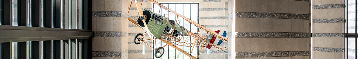 A life-size replica of the iconic Curtiss Model JN-4 airplane in the Minnesota History Center.