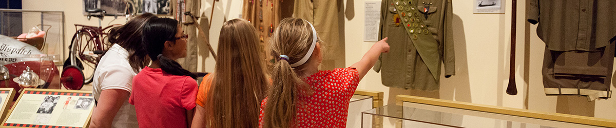 Students looking at an exhibit.