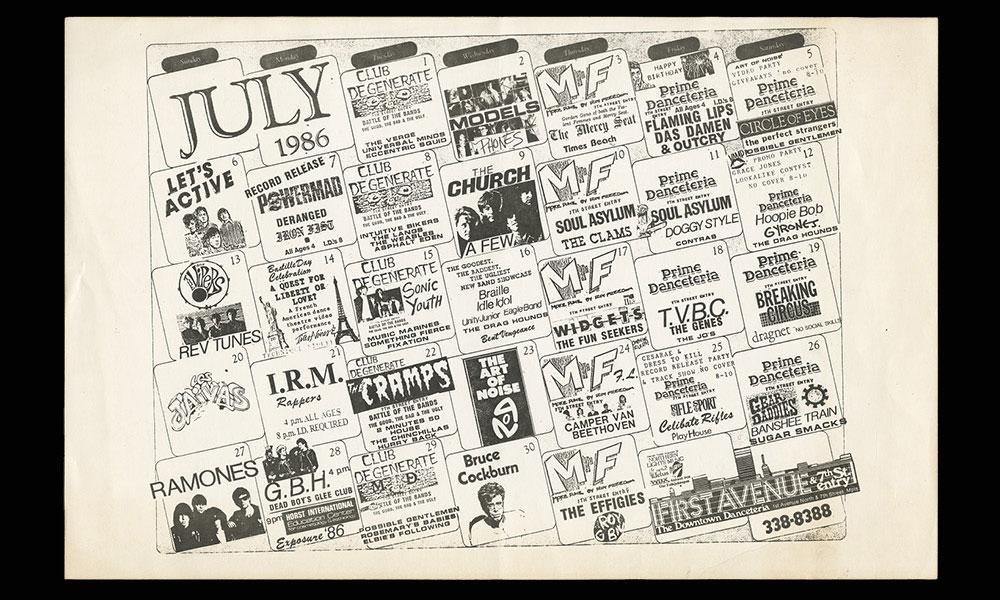 Concert calendar from July 1986.