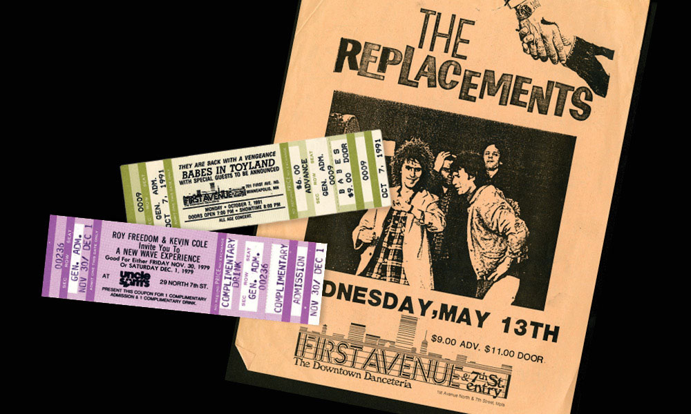 Vintage tickets and concert flyer from First Avenue & 7th Street Entry.