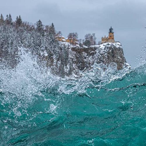 Lake superior waves below Split Rock lighthouse.