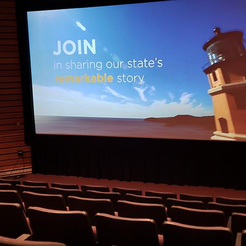 Theater screen showing Split Rock Lighthouse video.