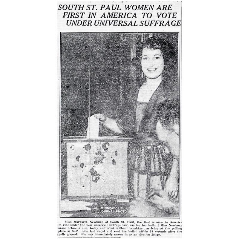 First Vote, universal suffrage, 1920.