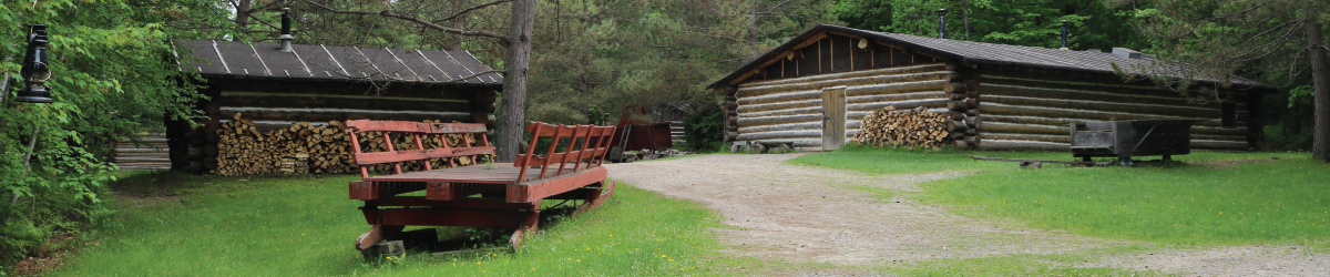 An area of the logging camp with two cabins.