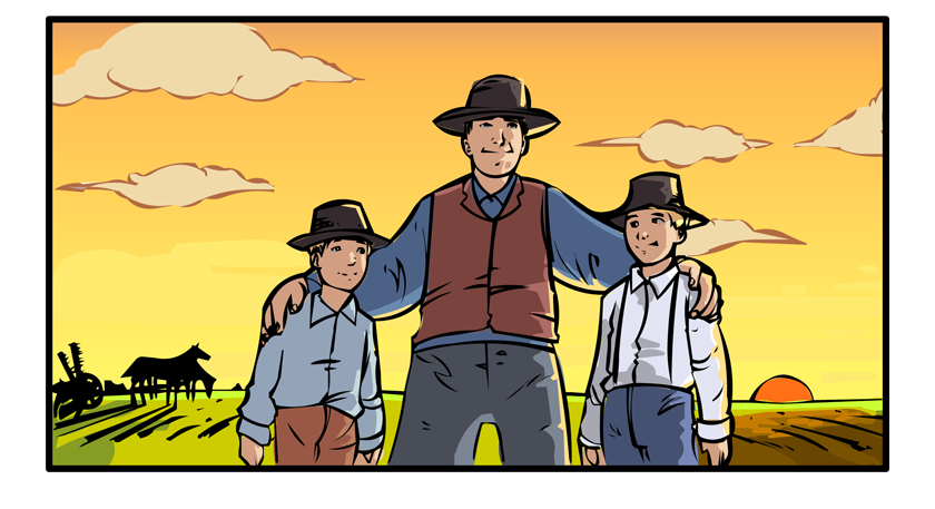 George and the boys stand proudly on the line between field and prairie.