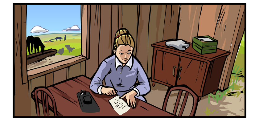 Partially unpacked, Mary sits at a table and begins to write.