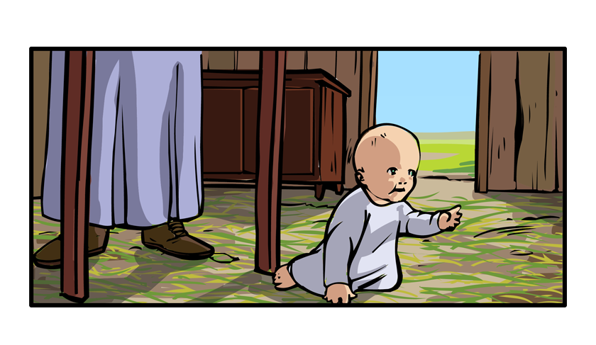 The perspective shifts back to the house and then moves inside. Little Lorenzo is crawling on the grass-covered floor.