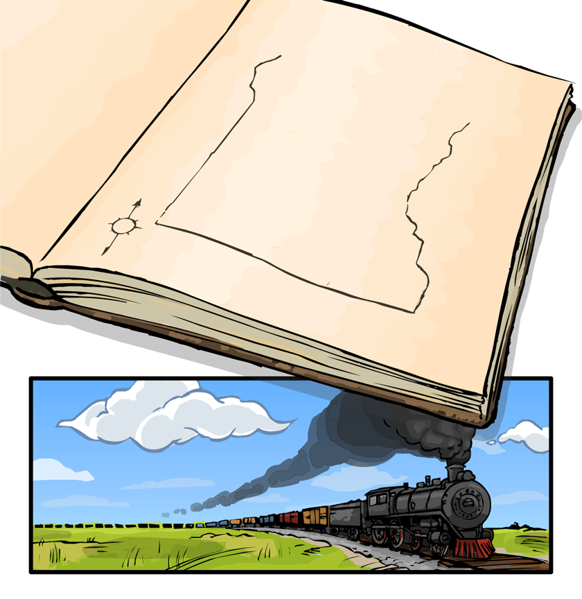 In his notebook, E.V. has sketched a map showing the expansion of railroads and the growth of towns.