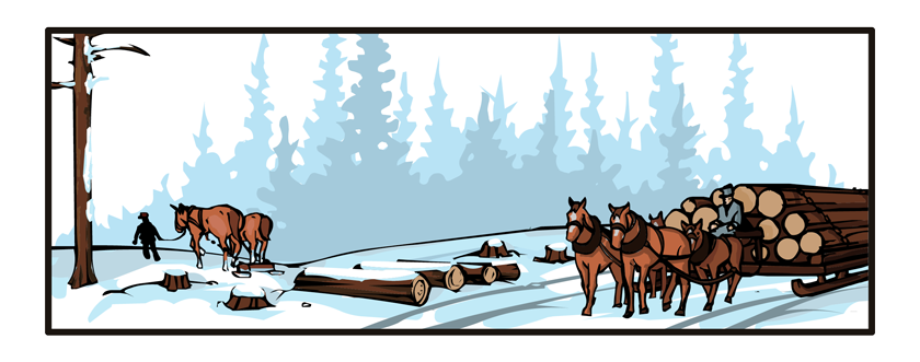 A giant sled pulls up to these logs. It is pulled by four horses and is already loaded with a dozen or so logs.
