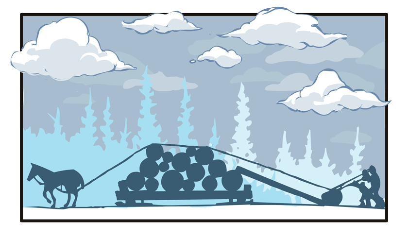 We see a silhouette of the sled being loaded. On the left side of the sled, a horse pulls on a rope that runs up over the existing logs and down a ramp to the log that's being loaded. At the log a pair of men use long poles with hooks to lever and roll the log up the ramp and to the top of the pile.