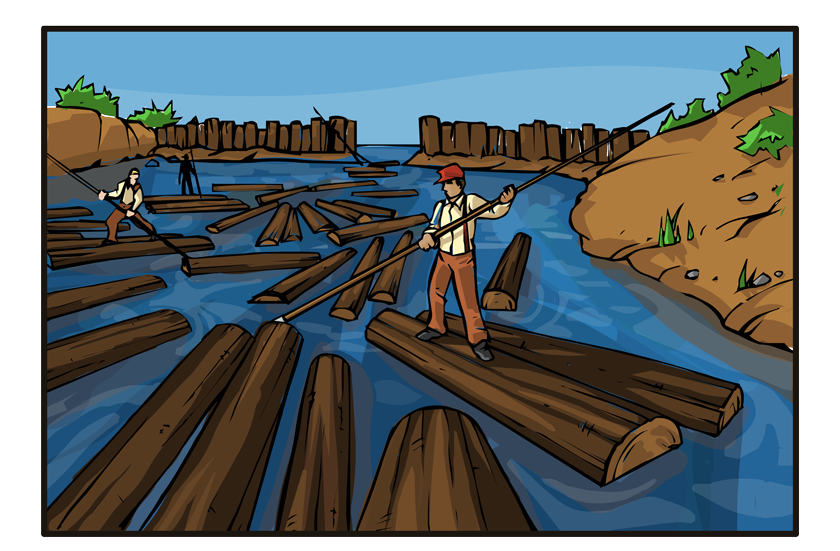 Now we're outside looking at a frozen lake. It is covered with logs. In the next panel, the same lake appears, but it's now spring. The lake has thawed and the logs are floating in a tangled mass.