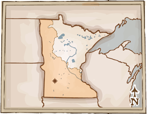 Map of Minnesota with the farming area highlighted, covering mainly the south west part of Minnesota. A small star is on Marshall area.
