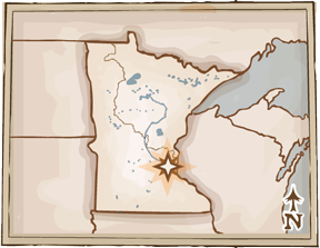 Map of Minnesota with the flourmilling area indicated by a star on the Minneapolis St Paul area.