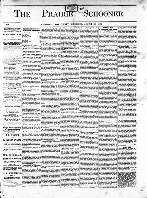 "Front page of the first issue of ""The Prairie Schooner,"" August 23, 1873."