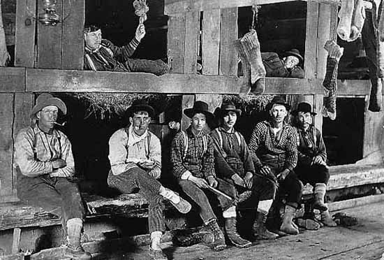Photo of eight lumberjacks lying in bunk beds and sitting in front of them on benches, their long socks dangle from rafters, 1905.