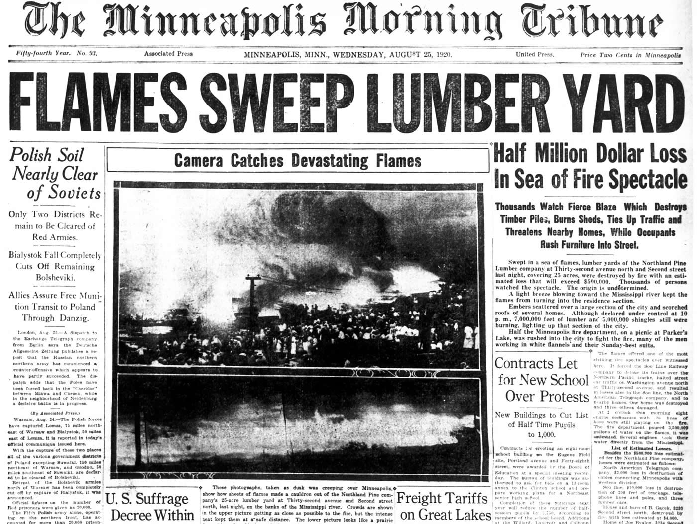 Front page of newspaper with headline and photo of the Northland Pine Company fire, August 25, 1920.