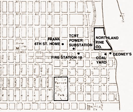 Map of northwest Minneapolis highlighting the location of the Frank home, Northland Pine Co., and Fire Station 18.