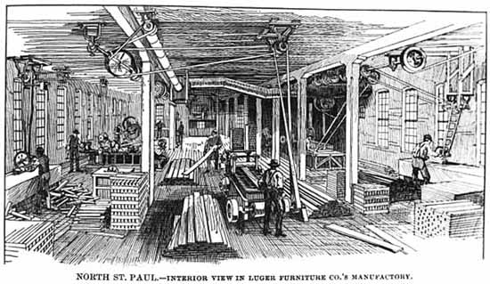Engraving of the interior of a furniture manufacturing company showing belt-driven machinery, ca. 1888.