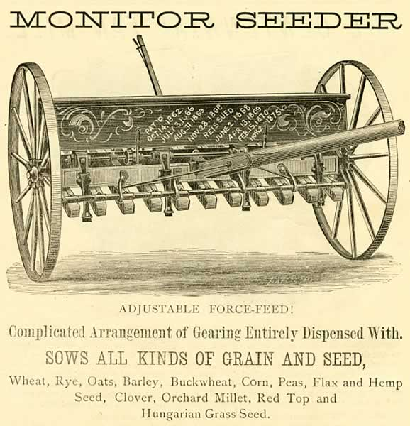 Advertisement for a seeder, 1880.