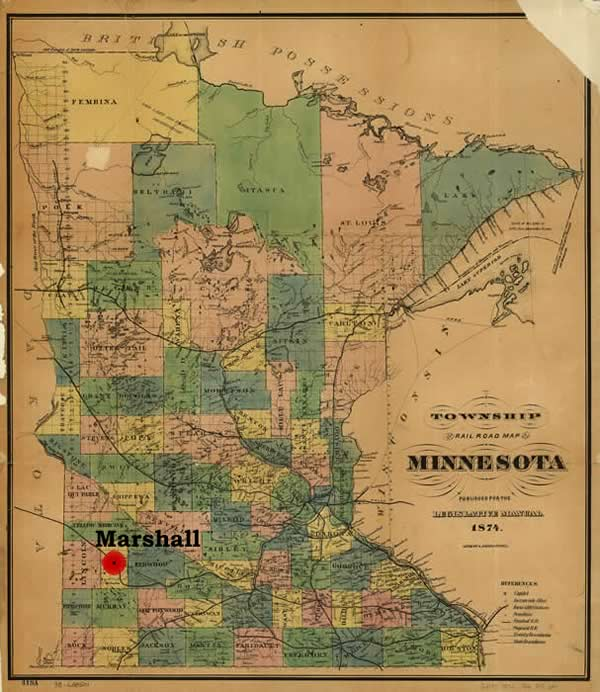 Map of Minnesota with Marshall highlighted,1874.