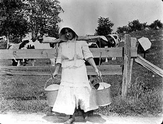 Photo of woman carrying two pails of milk hanging from a yoke around her neck, 1900.