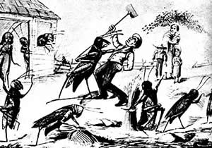 Cartoon of grasshoppers strangling farmer.