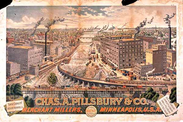 Color poster for Charles A. Pillsbury & Company, showing Saint Anthony Falls and the flour milling district, ca. 1885.