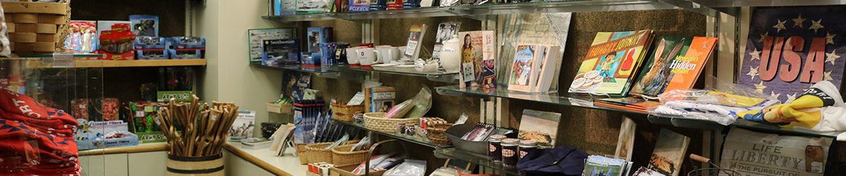 An array of souvenirs and gift items to purchase in the Fort Snelling gift shop.