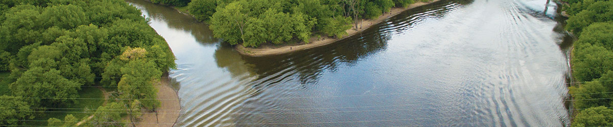 The confluence of the Minnesota and Mississippi rivers.