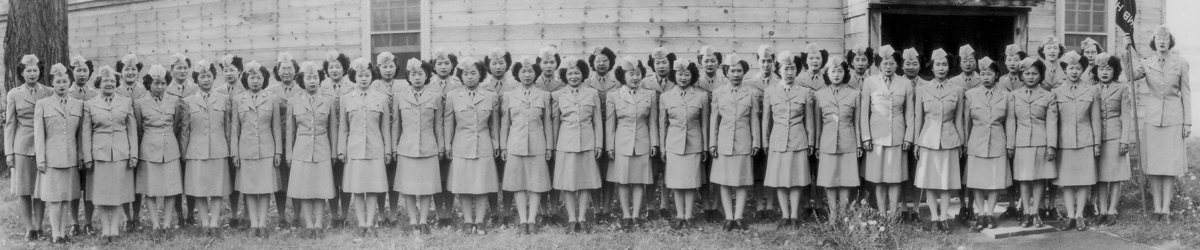 Nisei Women's Army Corps (WAC) detachment at Fort Snelling, about 1945.
